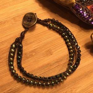Unisex leather cultured pearl & Swarovski bracelet